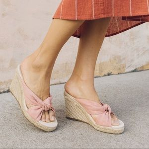 0d3841df605 Soludos Knotted Dusty Rose Pink Wedge size 7  NWT
